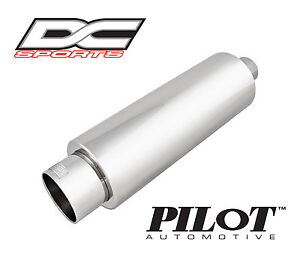 """DC Sports Universal Stainless Steel Exhaust Muffler 2 25"""" Inlet 3 75"""" Outlet"""