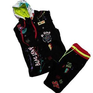 Blac Leaf men 2p set 100%AUTHENTIC size M button up vest &shorts 34-32 black