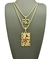 New Iced Out Rg & Rich Gang Pendant With Box Chain Set