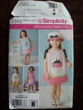 Pillowcase Fashions Girls Pattern Sizes A 1/2 to 4 Simplicity 2383 NIP