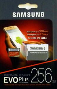 SAMSUNG EVO Plus 256GB MicroSD Micro SDXC Class10 Flash Memory Card w/SD Adapter
