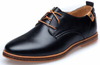 Mens PU Leather  Lace Up Casual Dress Formal British Oxfords Flats Brogue Shoes