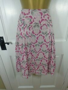 Pretty Sandwich Pink Floral 100% Cotton Lined Skirt, 36 UK 10, Excellent Cond