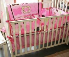 4pcs Pink Butterfly Baby Crib Cot Bedding Set Quilt Bumper Sheet Dust Ruffle Toy