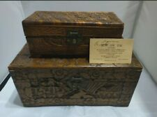 Antique RARE Wood Box Ornate Hand-Carved Boxes