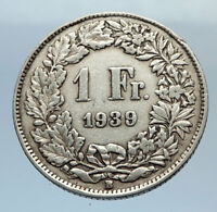 1939 SWITZERLAND - SILVER 1 Franc Coin - HELVETIA Symbolizes SWISS Nation i71665
