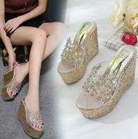 Womens Summer BOHO Peep Toe Flowers Sequins Sandals Wedge High Heels Slippers