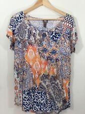 Chicos Navy Blue Orange Mixed Paisley Print Soft Tee Shirt Women Large Size 2