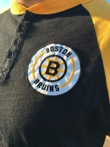 Vintage Throwback Boston Bruins Patch Mitchell & Ness Baseball Shirt - red sox