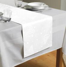 Country Club Jacquard Christmas Tree Table Runner White Festive Tableware Decor