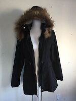 LF black super soft water proof oversized faux fur hoodie jacket NWT sz S $216