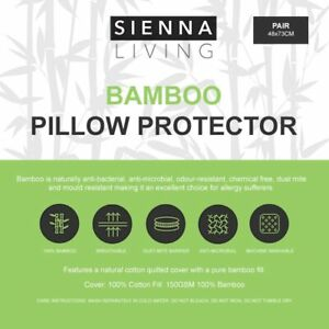 SIENNA LIVING Anti Allergy Quilted 100% Bamboo Fill Pillow Protector 2 Pack New