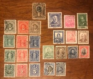 CHILE postage stamps lot of 25 old different leaders famous people