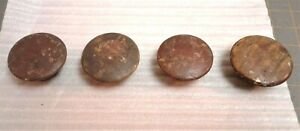 Set of 4 Antique Tiger Maple Wooden Round Furniture Drawer Pull Knobs 1840s