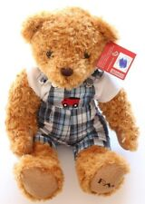 NWT FAO Schwarz Stuffed Plush Animal Bear with Plaid Overalls and White shirt