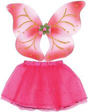 Girls Bright Pink Tutu Fairy Wings Dance Fancy Dress Costume Outfit Accessory