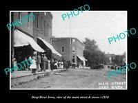 OLD LARGE HISTORIC PHOTO OF DEEP RIVER IOWA, THE MAIN STREET & STORES c1910 1