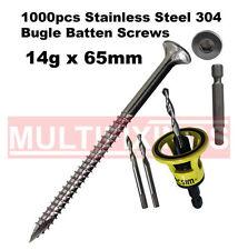 1000pcs - 14g x 65mm Stainless 304 Bugle Head Screws + Macsim Clever Tool