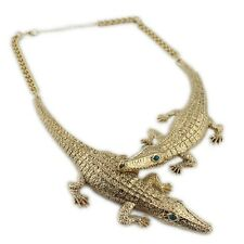 Punk goth biker style huge antique gold coloured crocodile alligator necklace