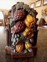 Vintage Fruit Leaves Flowers Bookends Farmhouse Flea Market Colorful Syroco