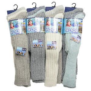 3 Pairs Ladies Long Socks Thermal Boot Walking Hiking Thick Wool Ski Winter Warm