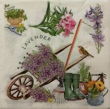 LAVENDER GARDENING FLORAL 2 single LUNCH SIZE paper napkins for decoupage 3-ply