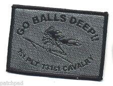 OIF GULF WAR TROPHY vêlkrö ACU GRAY PATCH: 1ST PLT 131ST CAVALRY - GO BALLS DEEP