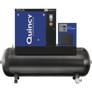 Quincy QGS15 120-Gallon 15hpRotary Screw Compressor w/ Dryer (208/230/460V 3-...