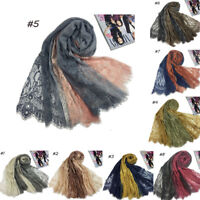 Women Cotton Flower Lace Scarf Muslim Hijab Shawls India Islam Turkish Head Wrap