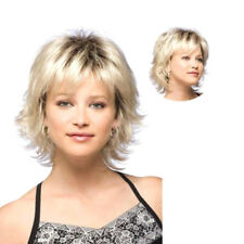 Womens Short Blonde Curly Hair Wavy Full Wig Synthetic Hair Cosplay Fancy Dress