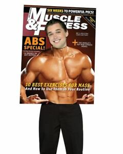 Adult Funny Muscle & Fitness  Magazine Cover Costume One Size