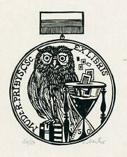 Owl, Medical, Limited Edition  Ex libris Bookplate by Victor Chrenko, Slovakia