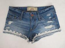 Hollister Womens Denim Short Shorts Size 00 Crochet Lace Trim