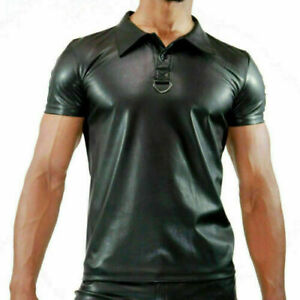 Men's Real Black Leather Polo T-Shirt High Quality Party and club Wears Shirts