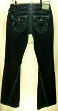 """True Religion Jeans Blue Stitch Size 28 Inseam 33"""" Low Rise Flare Bootcut"""