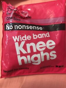 No Nonsense Wide Band Knee High Stockings; Beige; 2 Pairs; One Size