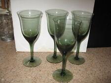 "4 Vintage Green  CRYSTAL 7 1/4"" Cordial Liquor Sherry Glass Smooth Stem VGUC"