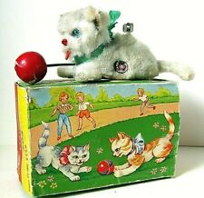 AUTOMATE CARL - RARE PETIT CHAT BLANC DES ANNEES 50 + BOITE-MADE IN WEST GERMANY