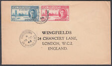 1946 St. Vincent Victory set, Kingstown CDS to Wingfields, London (NOT a FDC)