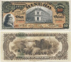 1914 Banknote 💲 El Banco MINERO Chihuahua MEXICO 10 Pesos CRISP!