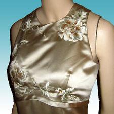Nuevo Luminoso Raso Champán Vestido Gala Bordado Corpiño 10 Dama de Honor