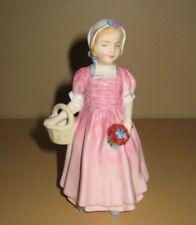 "Vintage Royal Doulton ""Tinkle Bell"" Figurine Pink Dress Flowers Basket 4.5"" Tall"