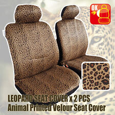 Pair New Universal Animal Design Suede Velour Tan Leopard Airbag Seat Covers