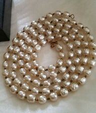 """Vintage Miriam Haskell 100 Glass Baroque Faux Pearls 4ft-5"""" Rope Strand Necklace"""