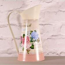 Rose & Hydrangea Print Tin Jug x 27.5cm Country Vintage Shabby Chic