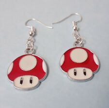 Cute red mario mushroom videogame charms earrings hooks silver plated jewelry