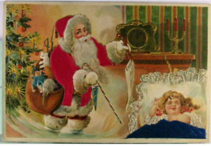 Silk Santa Claus with Clock~Sleeping Girl~Toys~Vintage  Christmas  Postcard-k685