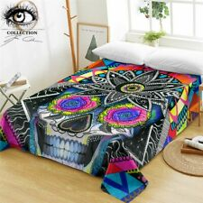 Sugar Skull By Pixie Cold Art Flat Sheet Queen Floral Microfiber Bed Sheet