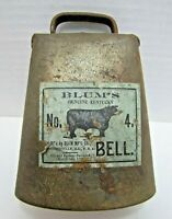 BLUM'S GENIUNE KENTUCKY BELL ILL USA Antique Farm Cow Cattle Tin p1880