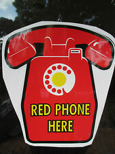 VICTA RED PHONE HERE Public PAYPHONE Shop Display Sign - NEW.